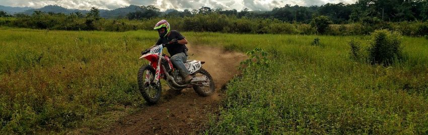 A dirt bike from financing out on a trail.